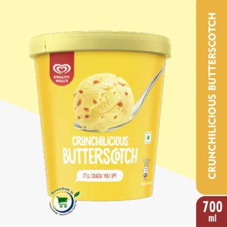 Kwality Walls Crunchilicious Butterscotch [ Ice Cream Tub ] - 700ml