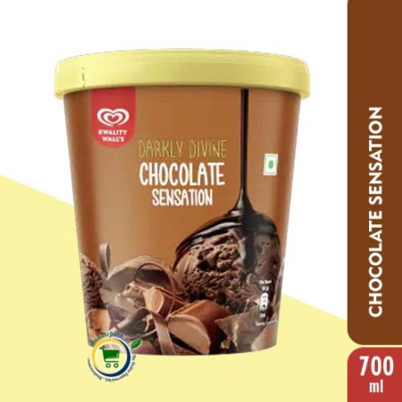Kwality Walls Darkly Divine Chocolate Sensation [ Ice Cream Tub ] - 700ml