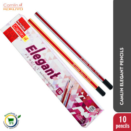 Camlin Elegant Pencils [Pack of 10 Pencils with Sharpener & Eraser]