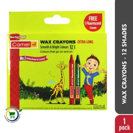 Camel Wax Crayons [Extra Long] - 12 Shades+Free 1 Fluorescent Crayon
